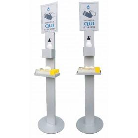Colonnina Porta Dispenser+Guanti ACCIAIO