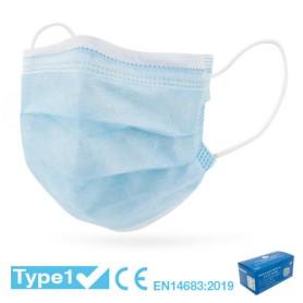 Mascherina Chirurgica CE - TIPO 1 - AZZURRA