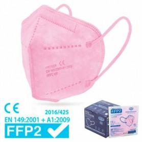 MASCHERINA FACCIALE FILTRANTE FFP2 - ROSA (+ gancetto)
