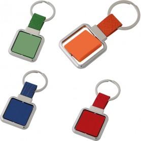 """Portachiavi """"Quadrato"""" in metallo con piastrina in abs"""